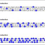 De haut en bas, les points de fixation au cours d'une lecture rapide, normale et lente, détectés grâce à l'oculométrie. (Illustration reproduite avec l'aimable autorisation de M. Baccino in : Lettre de l'ASFORED, 17, juillet-septembre 2009).
