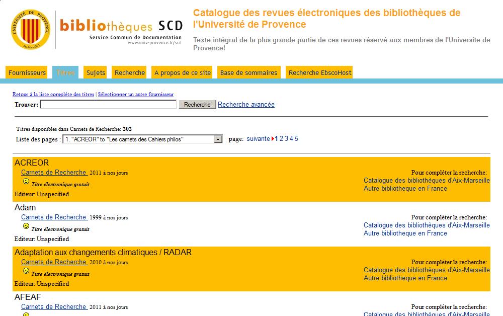 Catalogue Atoz de la bibliothèque de l'Université de Provence